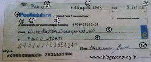 assegno circolare postale esempio