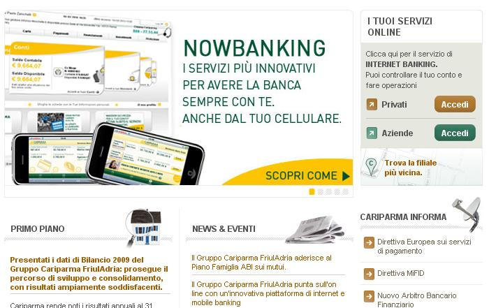 Cariparma-Nowbanking homepage