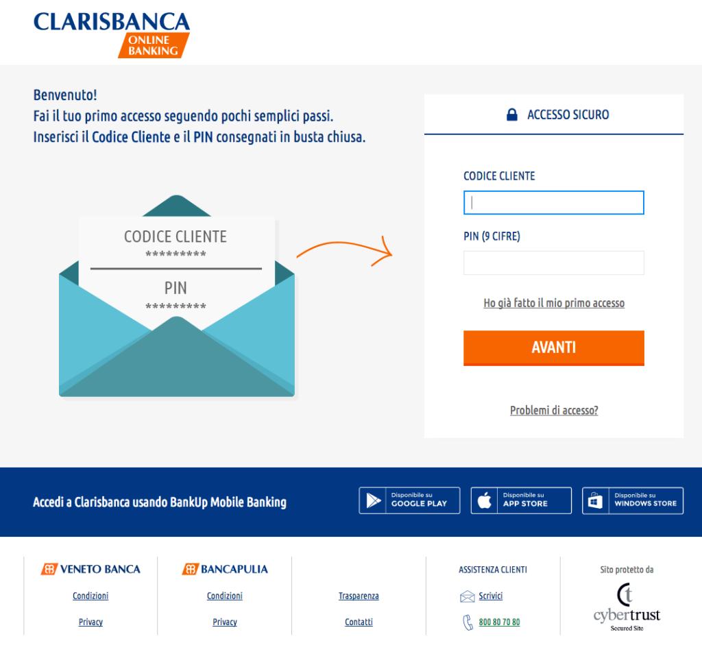 accesso claris banca